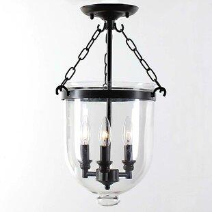 Charlton Home Fraise Glass Lantern 3-Light Semi Flush Mount