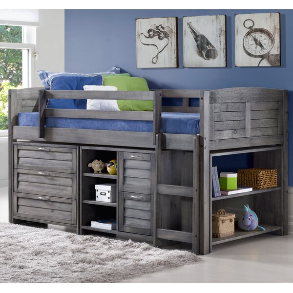 Birch Lane Evan Twin Low Loft Slat Bed With Drawers Shelves And