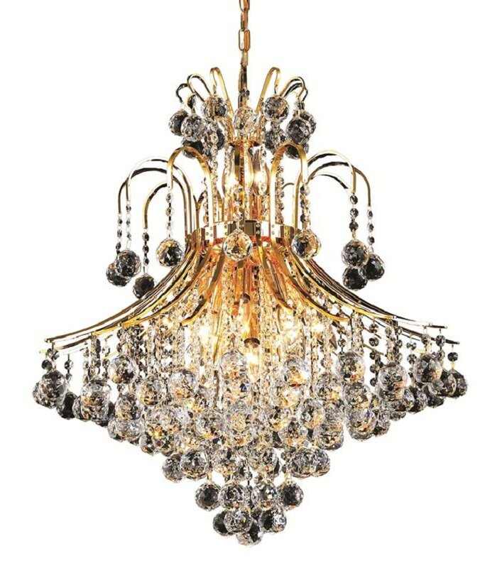 Mercer41 Mcallen 15 Light Shaded Tiered Chandelier With Crystal Accents Reviews Wayfair