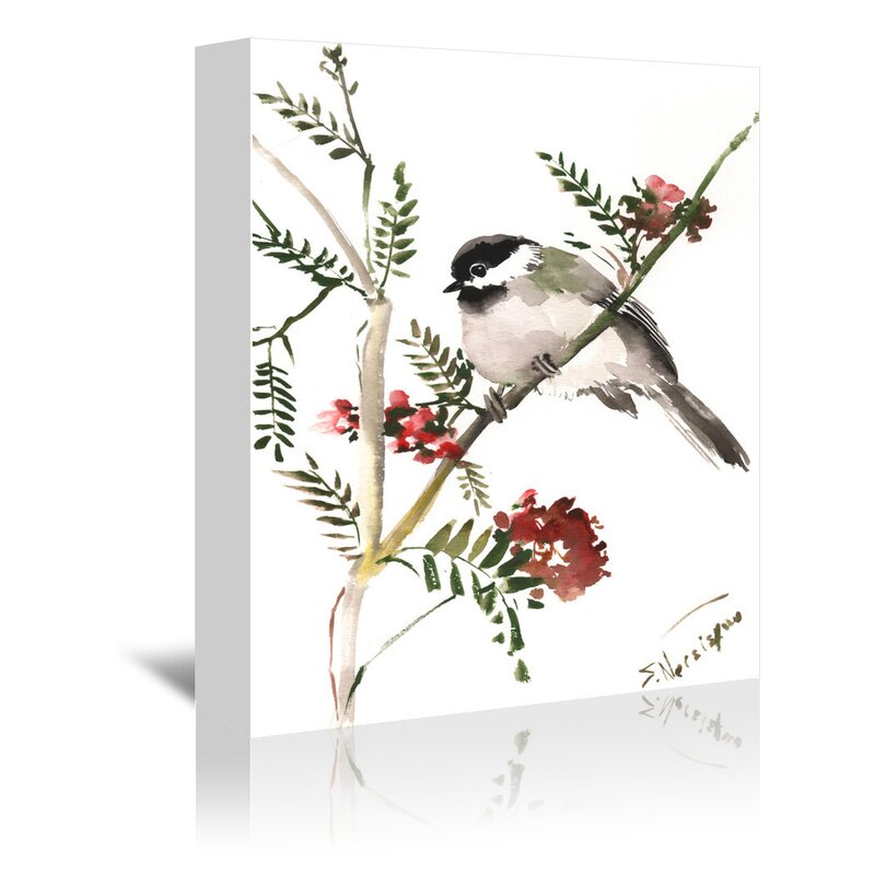 East Urban Home Chickadee Painting Print On Gallery Wrapped Canvas Wayfair
