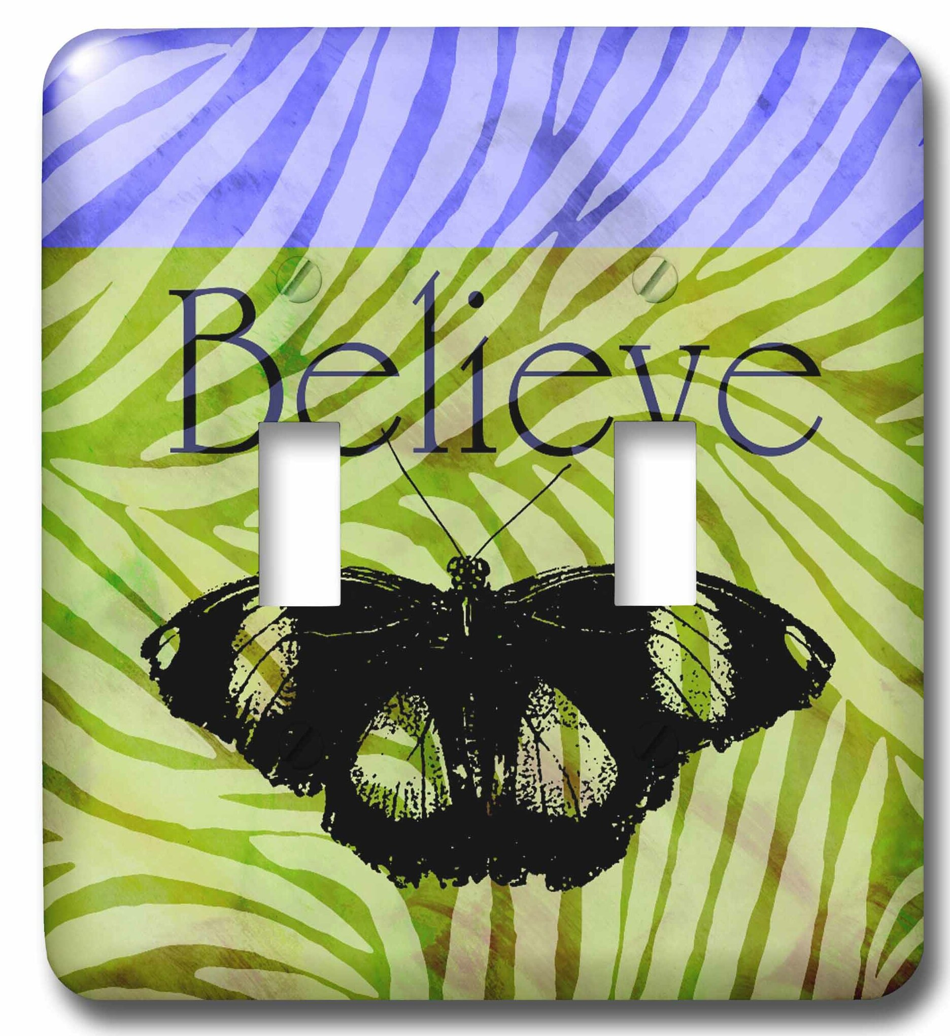 3drose Believe Butterfly Zebra Print Art 2 Gang Toggle Light Switch Wall Plate Wayfair