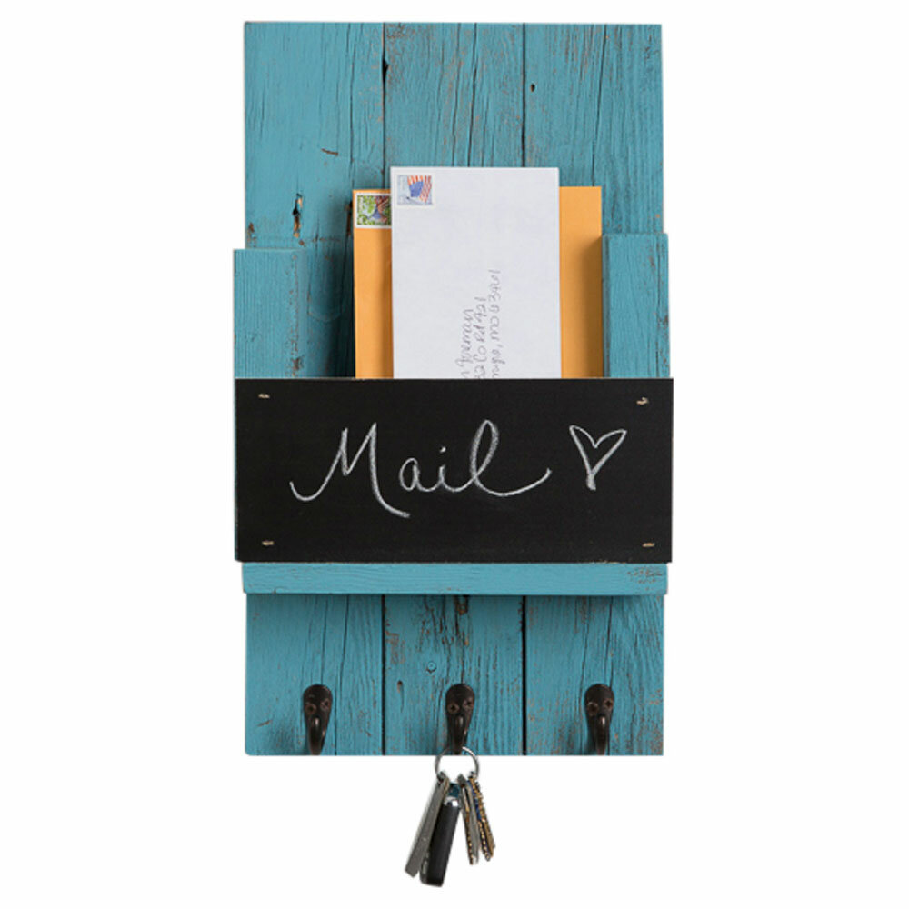 August Grove Sibeudu Mail Holder with Chalkboard and Hooks | Wayfair