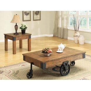17 Stories Choncey Rustic 2 Piece Coffee Table Set