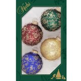 Designer Decorated Boxed Glass Ball Ornament (Set of 4)