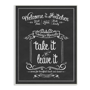 Welcome To The Kitchen Chalkboard Textual Art Print On Wood