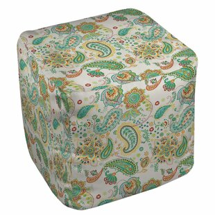 Aqua Bloom Paisley Pouf by Manual Woodworkers & Weavers