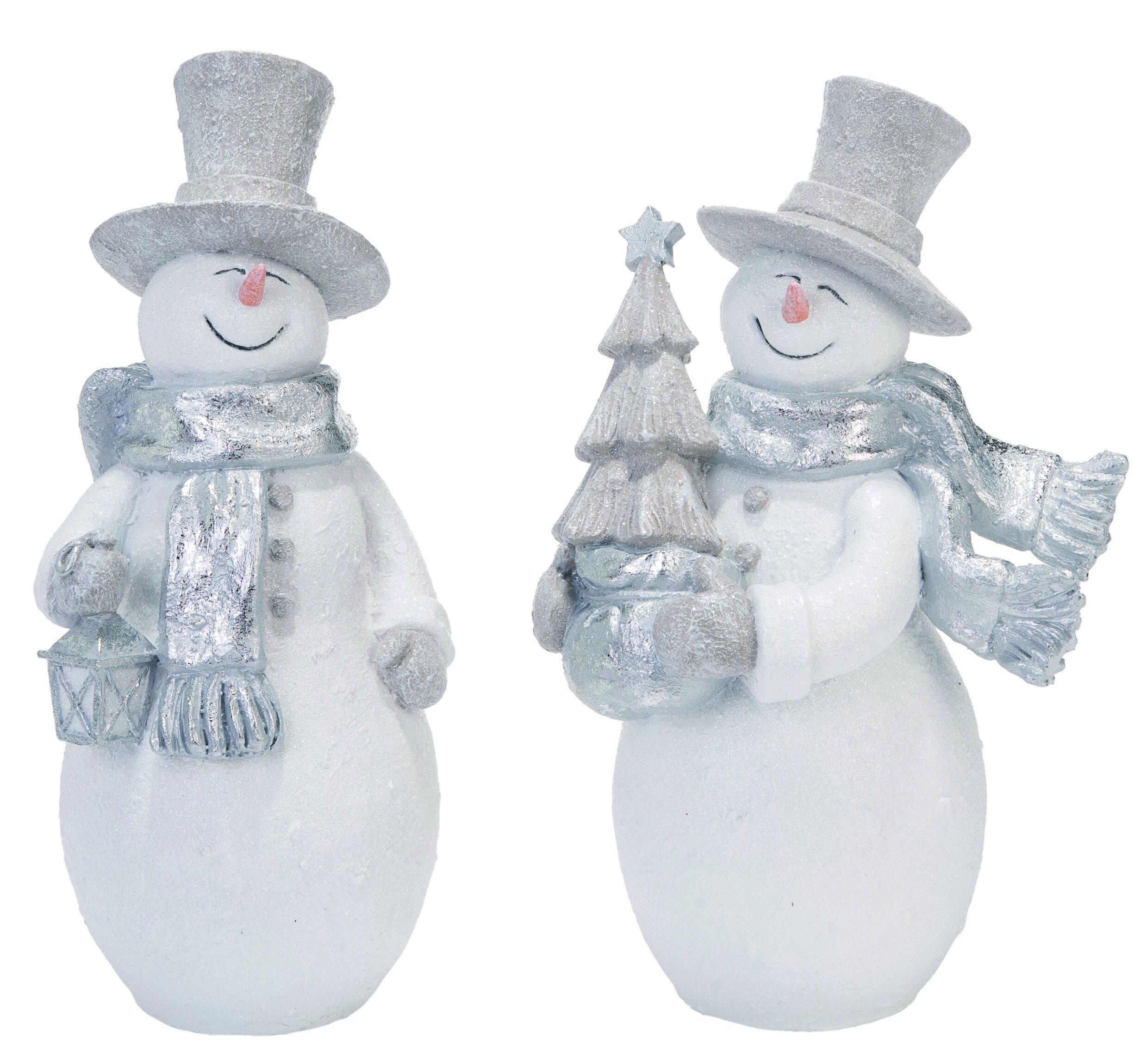 The Holiday Aisle 2 Piece Resin Christmas Glitz Snowman Set Wayfair