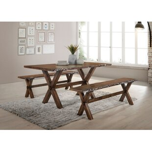 Ostrander Solid Wood Dining Table Loon Peak