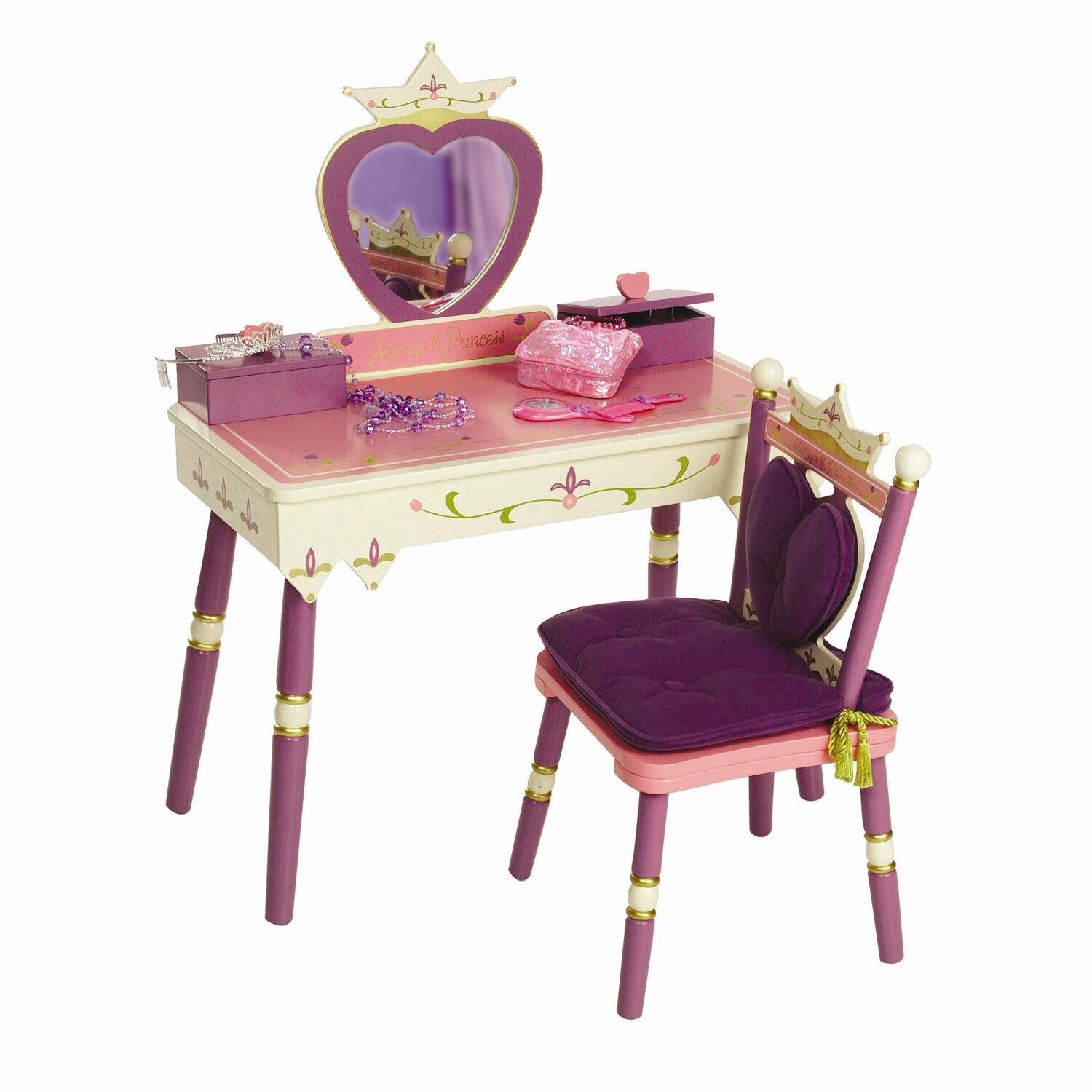 Levels Of Discovery Princess Vanity Set With Mirror Reviews Wayfair