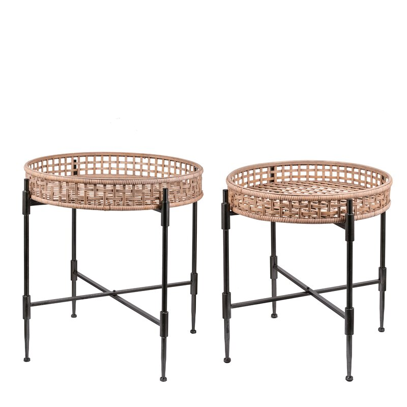 Gambardella Rattan Tray Table Set  sc 1 st  Wayfair : set of tray tables - pezcame.com