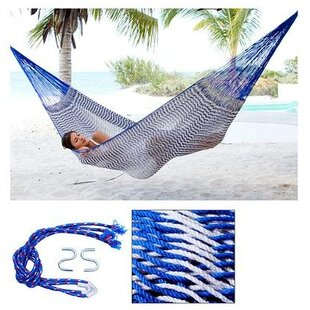 Novica Portable Single Person Ocean Waves Hand-Woven Mayan Artists of the Yucatan Natural Cotton with Hanging Accessories Included Camping or Outdoor Hammock