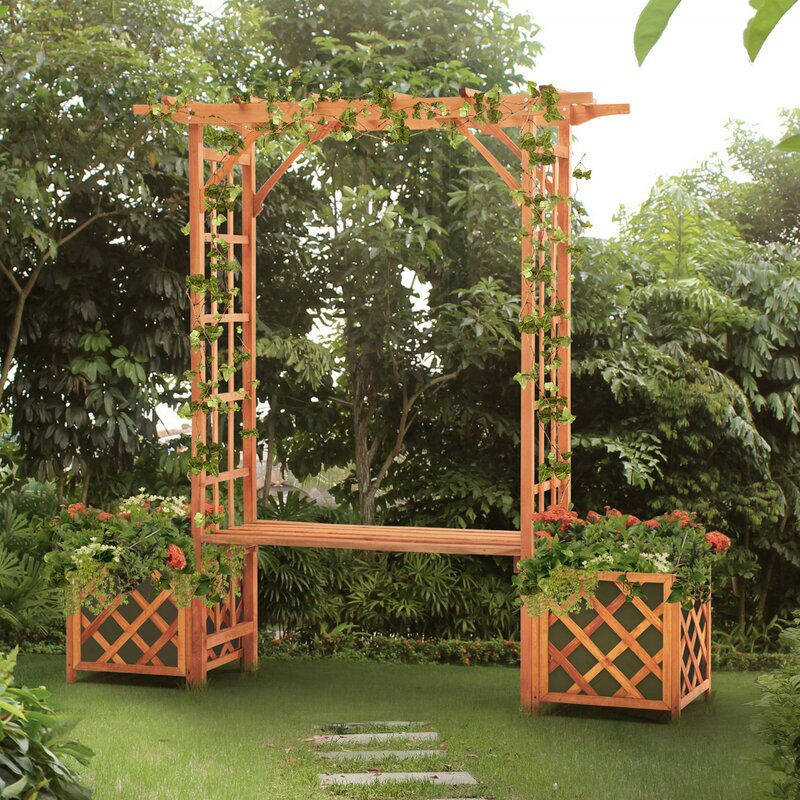Sunjoy Trellis Arch Wood Arbor With Bench And Planter