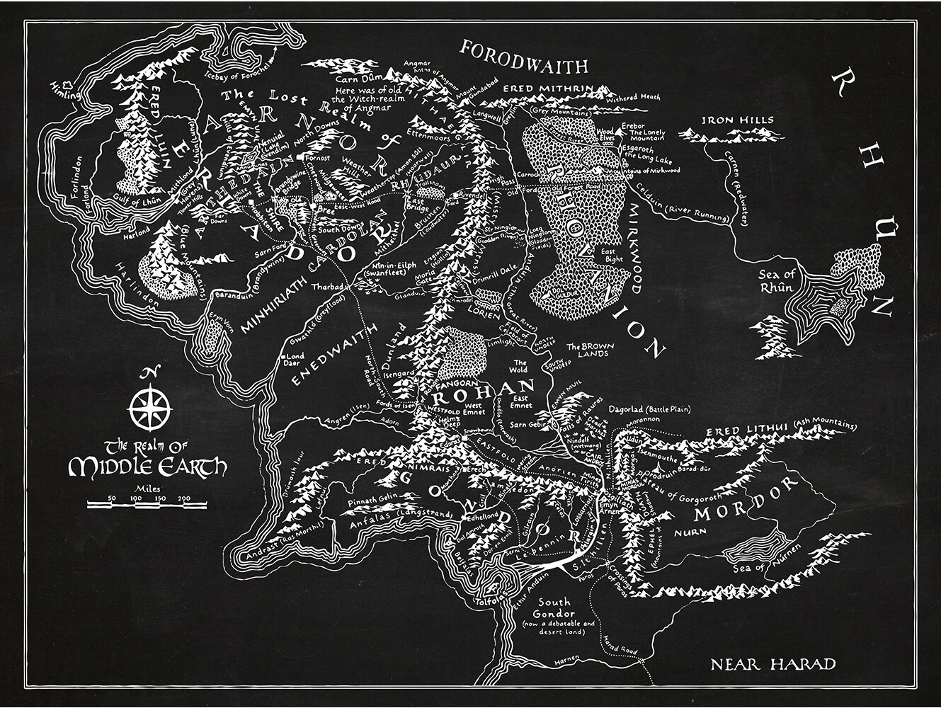 Inked And Screened Sci Fi And Fantasy Middle Earth Map Silk Screen
