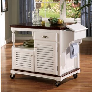 August Grove Winstead Sophisticated Kitchen Island with Casters