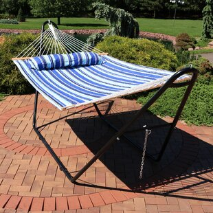 Brielle Quilted Double Fabric 2-Person Hammock with Stand