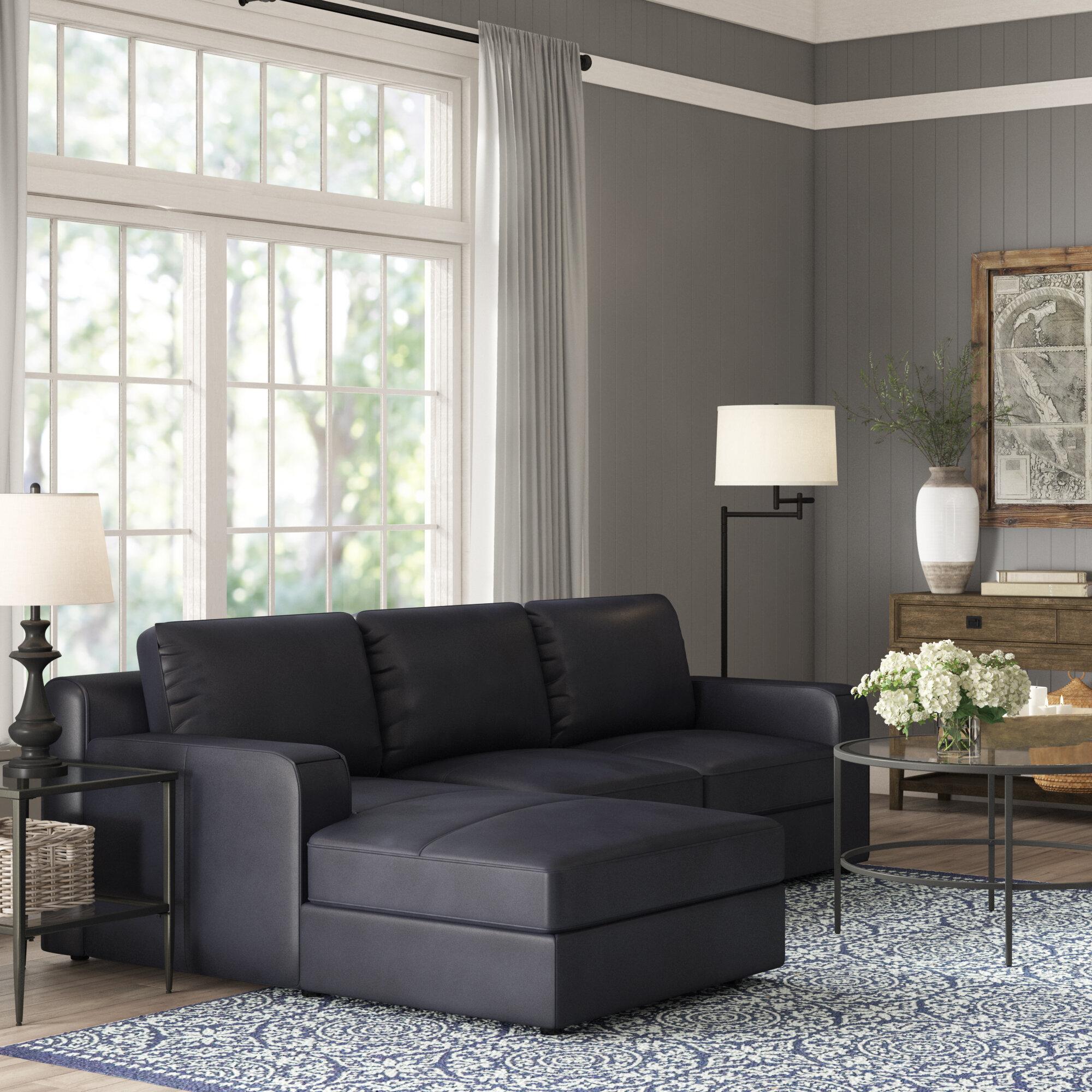 Becker Leather Sleeper Sectional