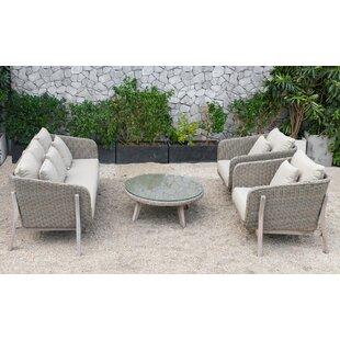 Hamza Outdoor 4 Piece Rattan Sofa Seating Group by Corrigan Studio