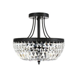 Mckeever Crystal Basket 3-Light Semi Flush Mount by House of Hampton