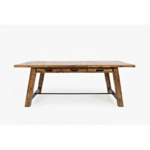 Dallas Trestle Solid Wood Dining Table Millwood Pines