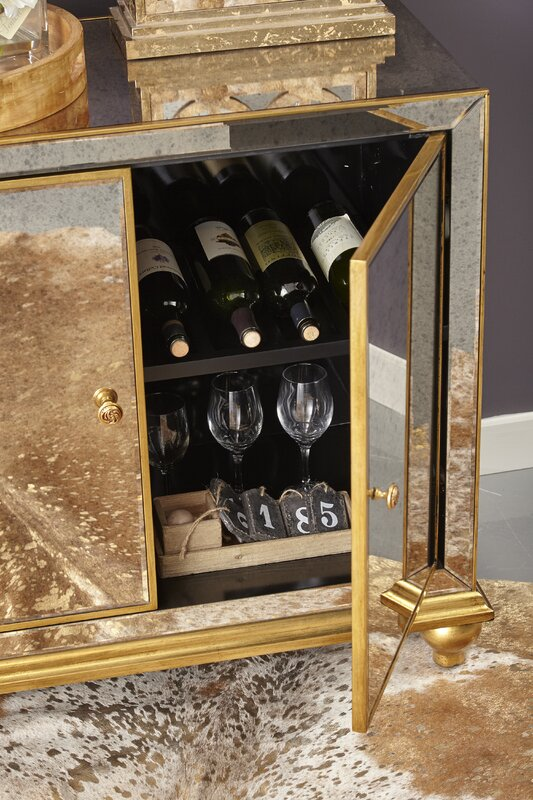 Malik Antique Mirrored 8 Bottle Floor Wine Cabinet - Malik Antique Mirrored 8 Bottle Floor Wine Cabinet & Reviews Birch