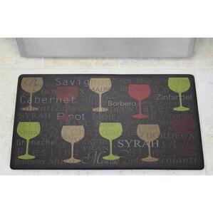 Wine Typography Anti Fatigue Cushioned Chef Kitchen Mat