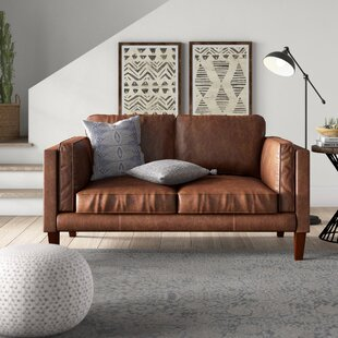 Find for Tinney Leather Loveseat by Mistana Reviews (2019) & Buyer's Guide