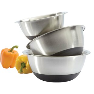 3-Piece Stainless Steel Mixing Bowl Set with Non-Skid Silicone Bottom