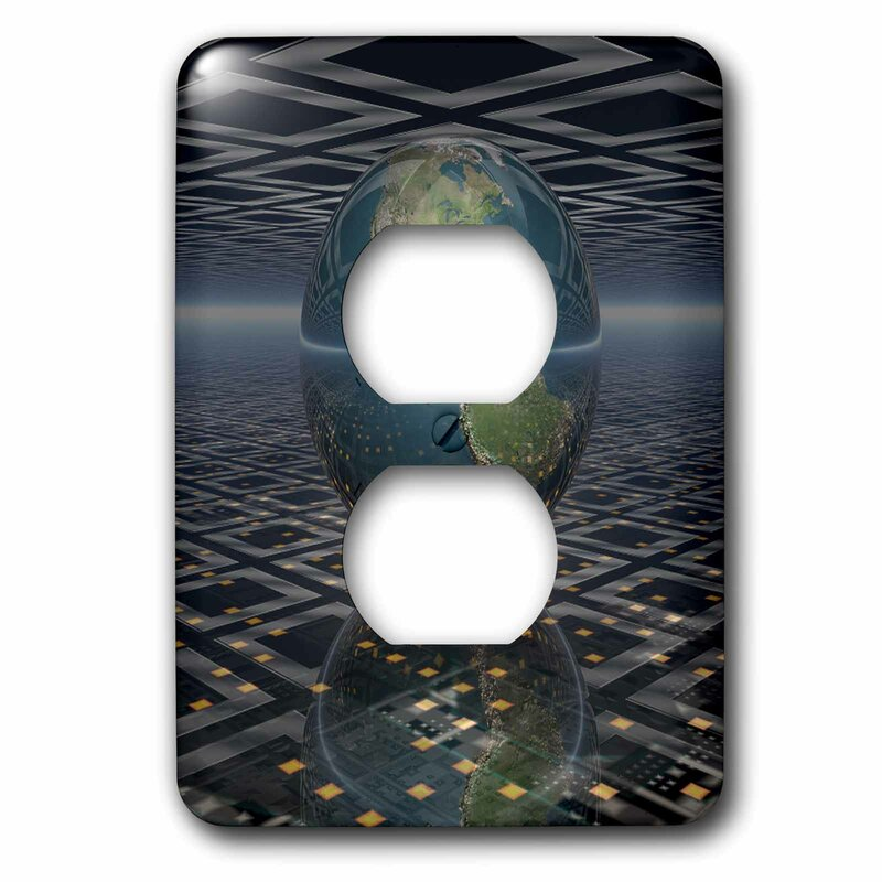3drose Earth Horizons Surreal Scene Of Reflecting Earth Globe Resting On Computer Board 1 Gang Duplex Outlet Wall Plate Wayfair