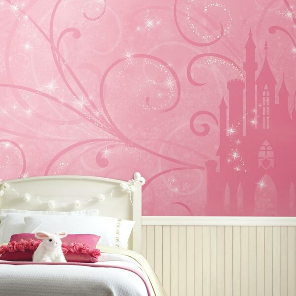 Fairytale Pink Princess Castle Self-adhesive Wallpaper Girls Room Murals Decor