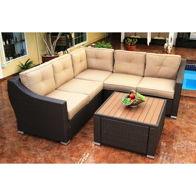 Wondrous Worldwidewicker Tampa 4 Piece Sectional Set With Cushions Lamtechconsult Wood Chair Design Ideas Lamtechconsultcom
