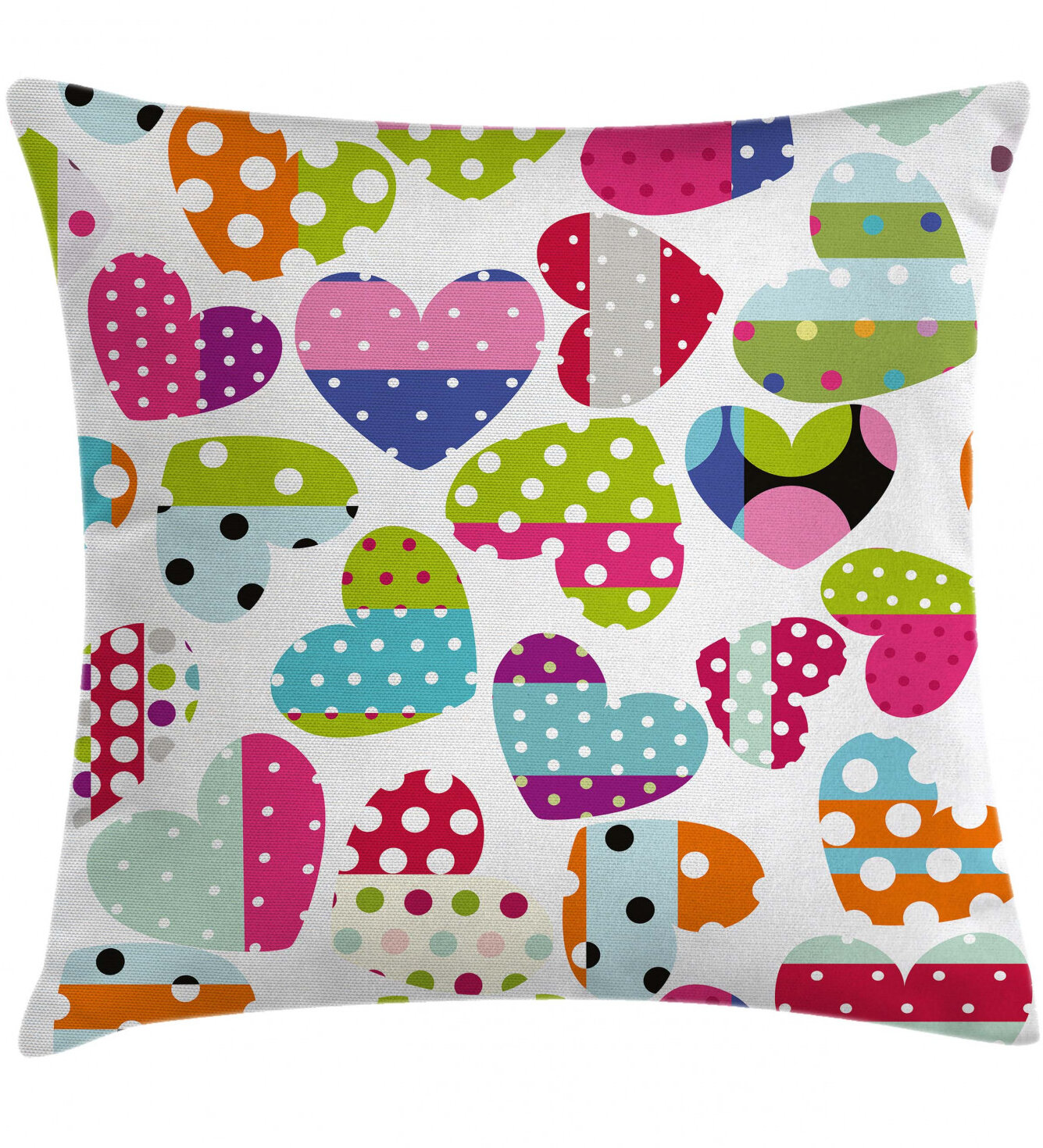 East Urban Home Ambesonne Colorful Throw Pillow Cushion Cover Heart Shapes With Patches And Polka Dots Cheerful Pattern Design Artwork Decorative Square Accent Pillow Case 26 X 26 Multicolor Wayfair