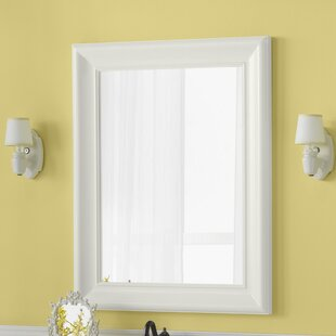Best Reviews Traditional 29 x 37 Solid Wood Framed Bathroom Mirror in Cream By Ronbow