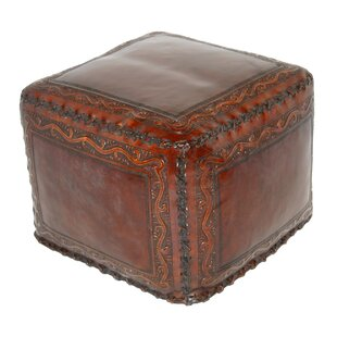 Classic Stitch Leather Pouf by New World Trading