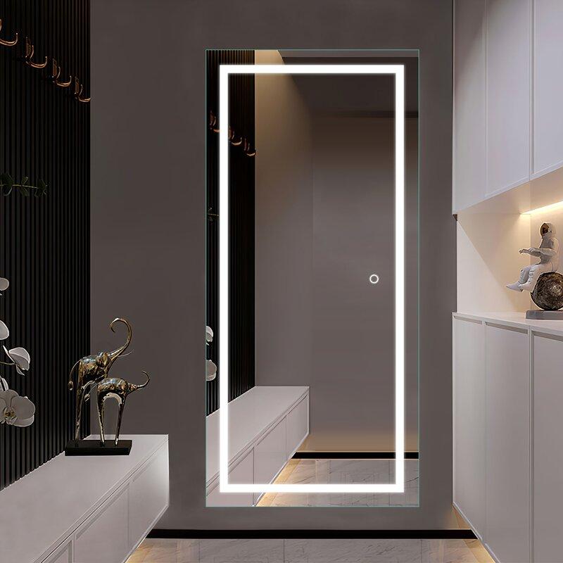 Illuminated Wall Mirror - Prejean Frameless Lighted Full Length Mirror