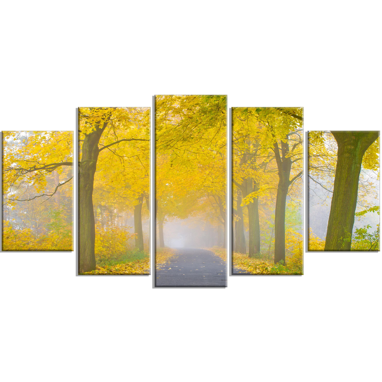 DesignArt \'Misty Road in Yellow Autumn Forest\' 5 Piece Wall Art on ...