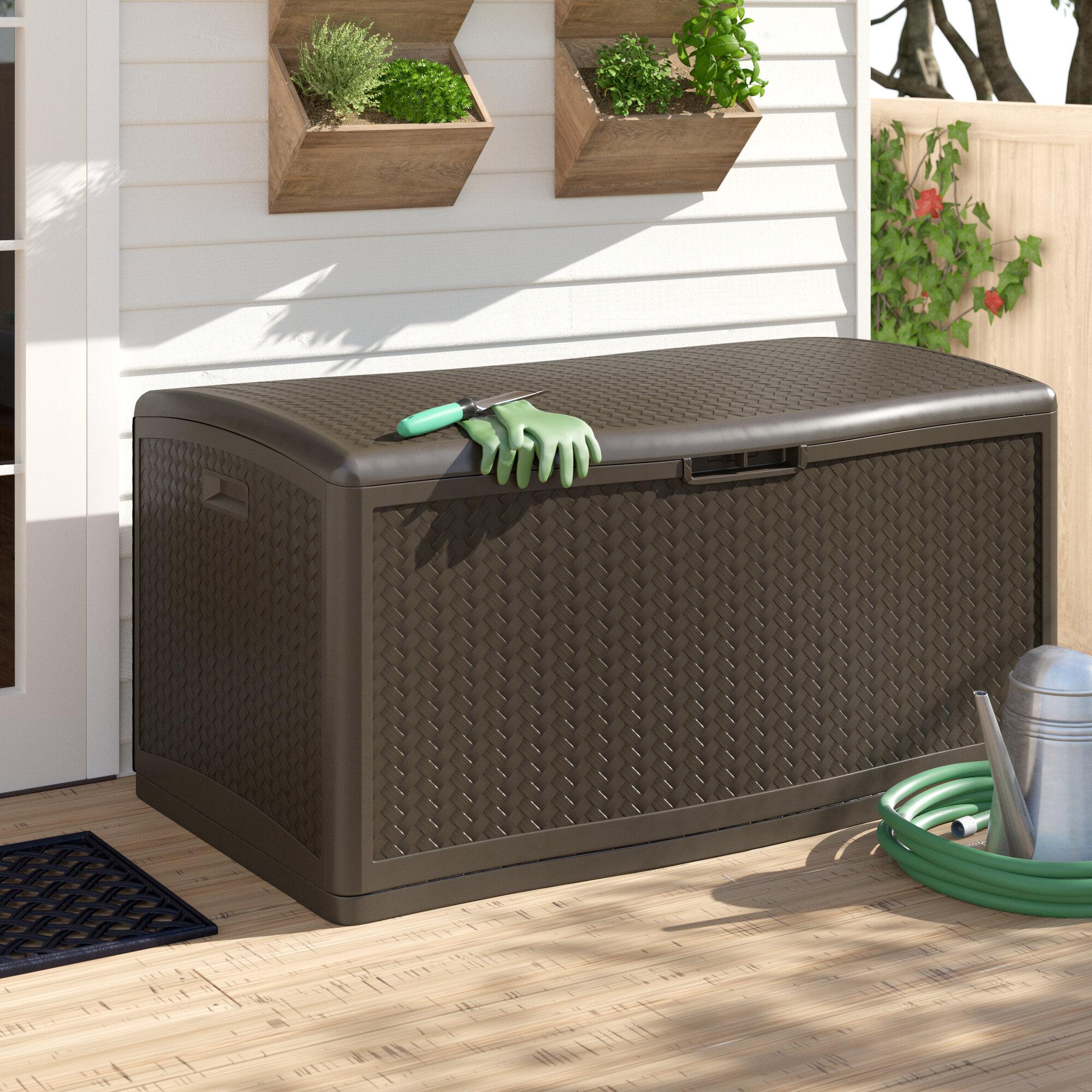 Suncast Java Herringbone Outdoor 124 Gallon Resin Deck Box Reviews Wayfair