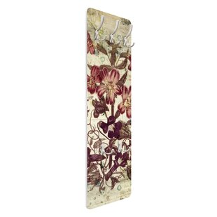 Review Vintage Floral Pattern Wall Mounted Coat Rack