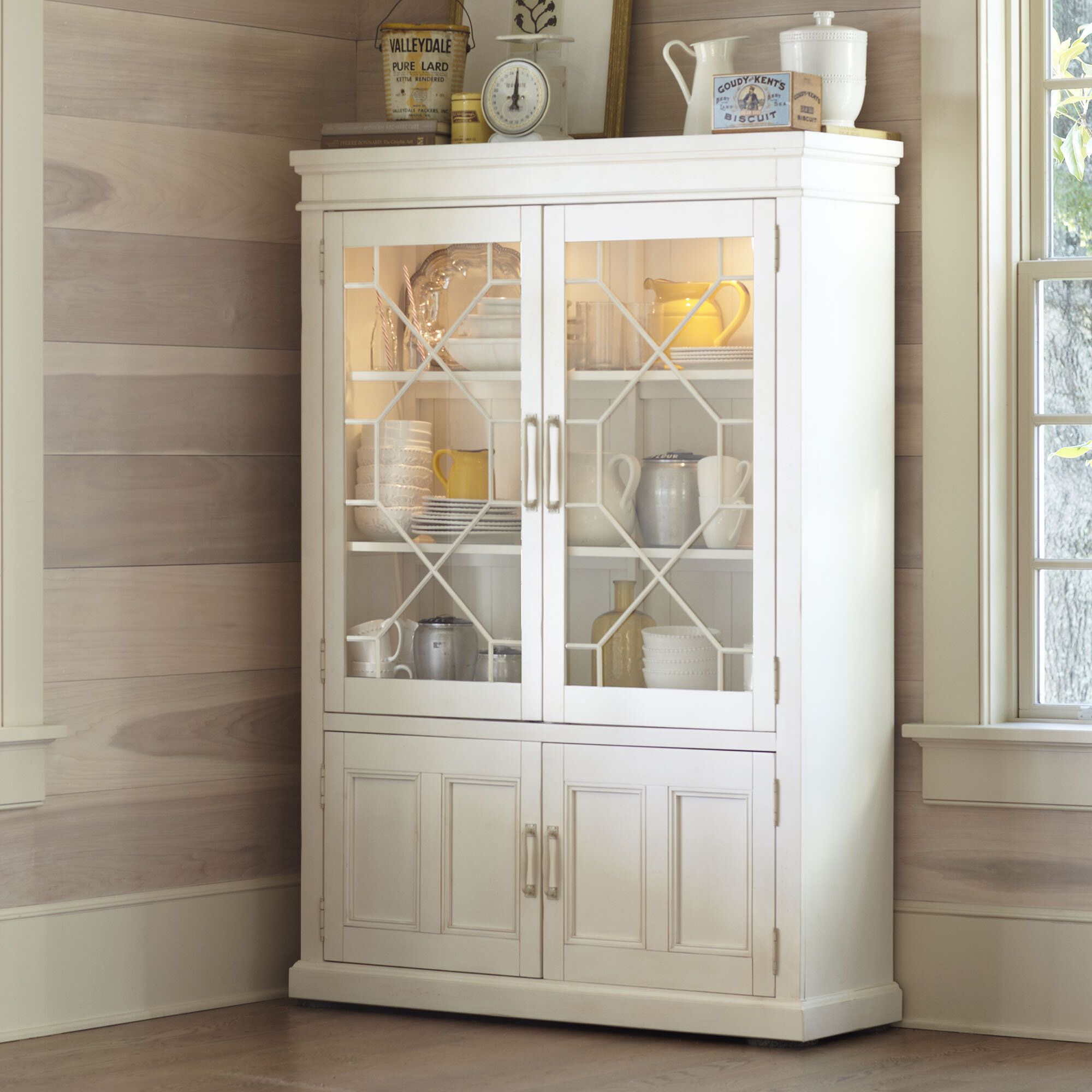 Solid Rubberwood Lighted China Cabinet