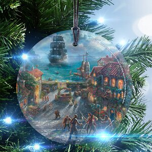 Disney Thomas Kinkade (Pirates of the Caribbean) StarFire Prints Glass Hanging Ornament