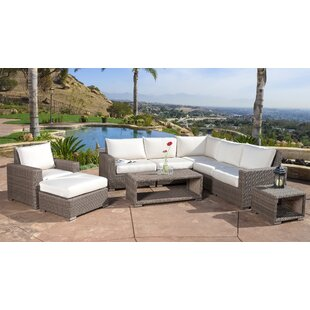 Coleridge 9 Piece Rattan Sectional Set with Cushions by Rosecliff Heights