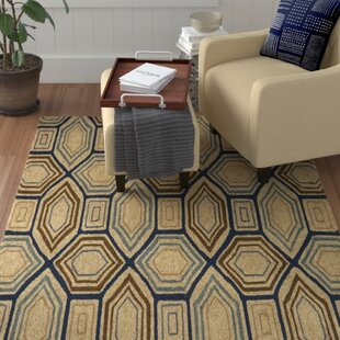 Funkhouser Hand-Hooked Camel/Navy Indoor/Outdoor Area Rug