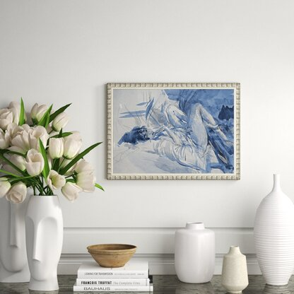 'Nude in Blue' by Charlotte Moss - Picture Frame Painting Print on Paper