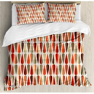 East Urban Home Retro Home 60s - 70s Style Geometric Round Shaped Design with Warm Colors Print Duvet Set
