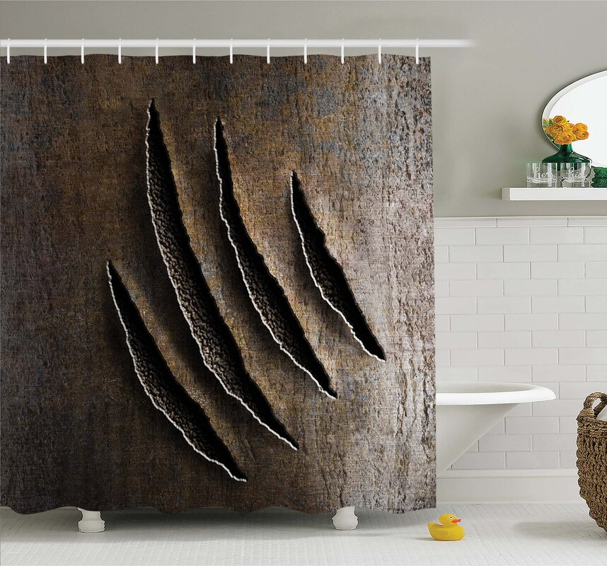 Horror House Wild Claws Scratch Damage On Rusty Metal Iron Background Sharp  Beast Theme Shower Curtain