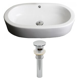 Purchase Transition Ceramic Oval Vessel Bathroom Sink with Overflow By American Imaginations