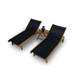 Domingues Reclining Teak Sun Lounger Set with Table