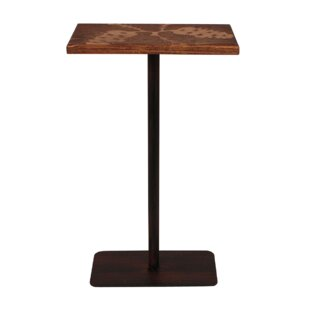 Hailey Wood Top Pine Cone Accent Pub Table Millwood Pines