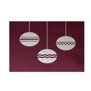Read Reviews Geo-Bulbs Decorative Holiday Print Cranberry Burgundy Indoor/Outdoor Area Rug By The Holiday Aisle
