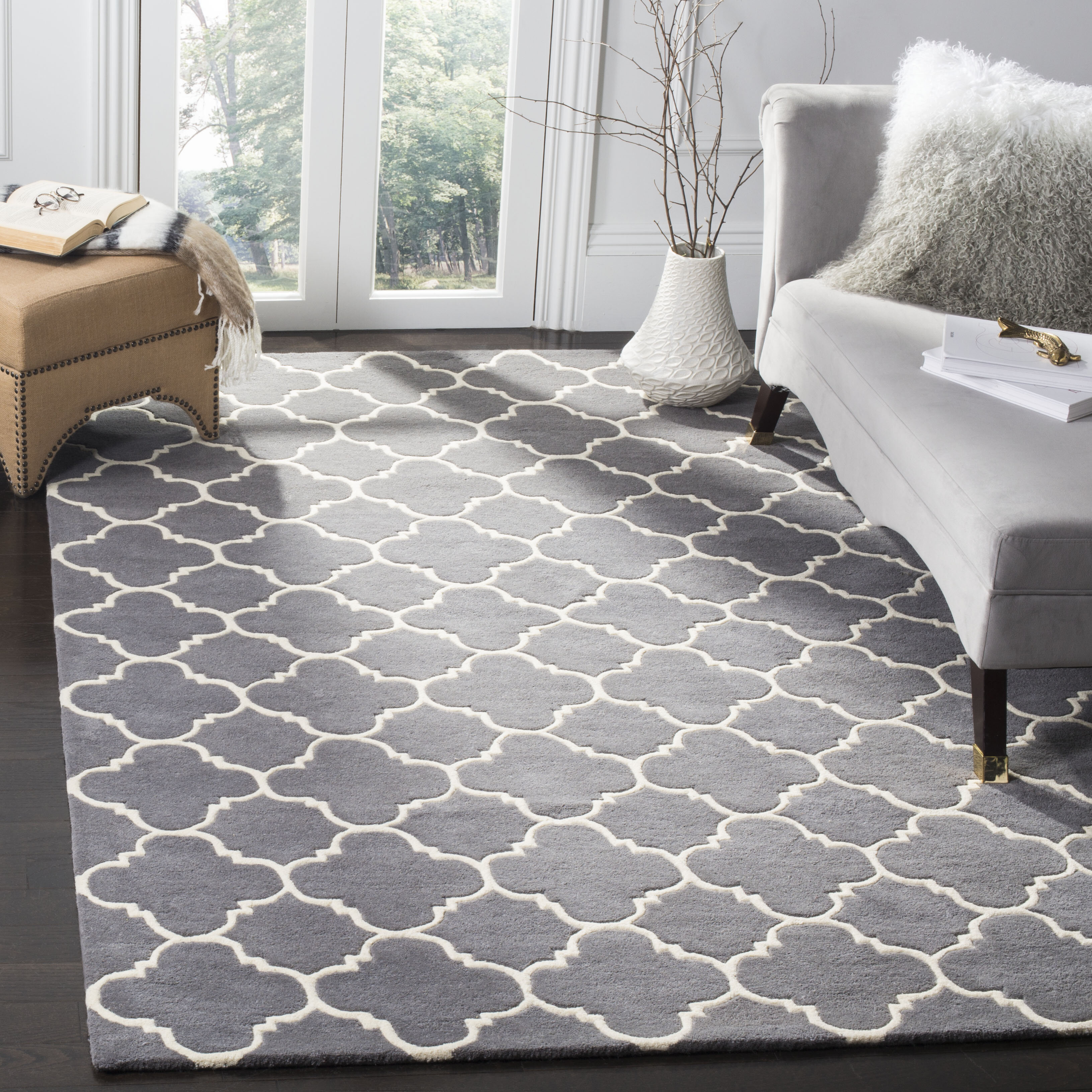 Charlton Home Donoghue Hand Tufted Wool Dark Gray Ivory Area Rug Reviews Wayfair