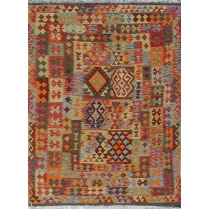 One-of-a-Kind Vallejo Kilim Gulloo Hand-Woven Wool Orange Area Rug